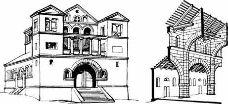 Архитектура Византии. Базилика в Турманине (Сирия) V в. фасад, схема разреза