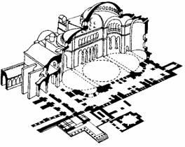 Архитектура Византии. Собор св. Софии в Константинополе. 537 г. Аксонометрический разрез.