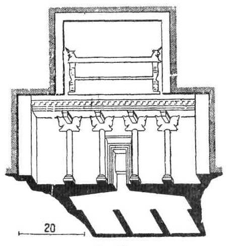 Архитектурные памятники Древней Персии. Разрез гробницы в Персеполе