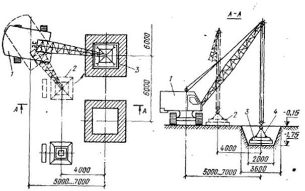 Схема монтажа фундаментных блоков