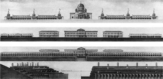 Проекты набережных, лавок, административных зданий и собора для Макарьевской ярмарки. Фасады, разрезы
