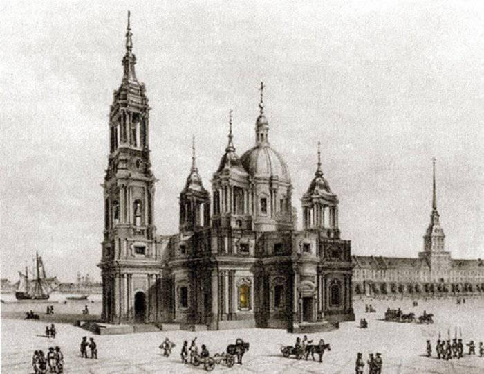 Третья версия Исаакиевского собора. Проект Н.А. Ринальди. Рис. О. Монферрана. 1768 г.