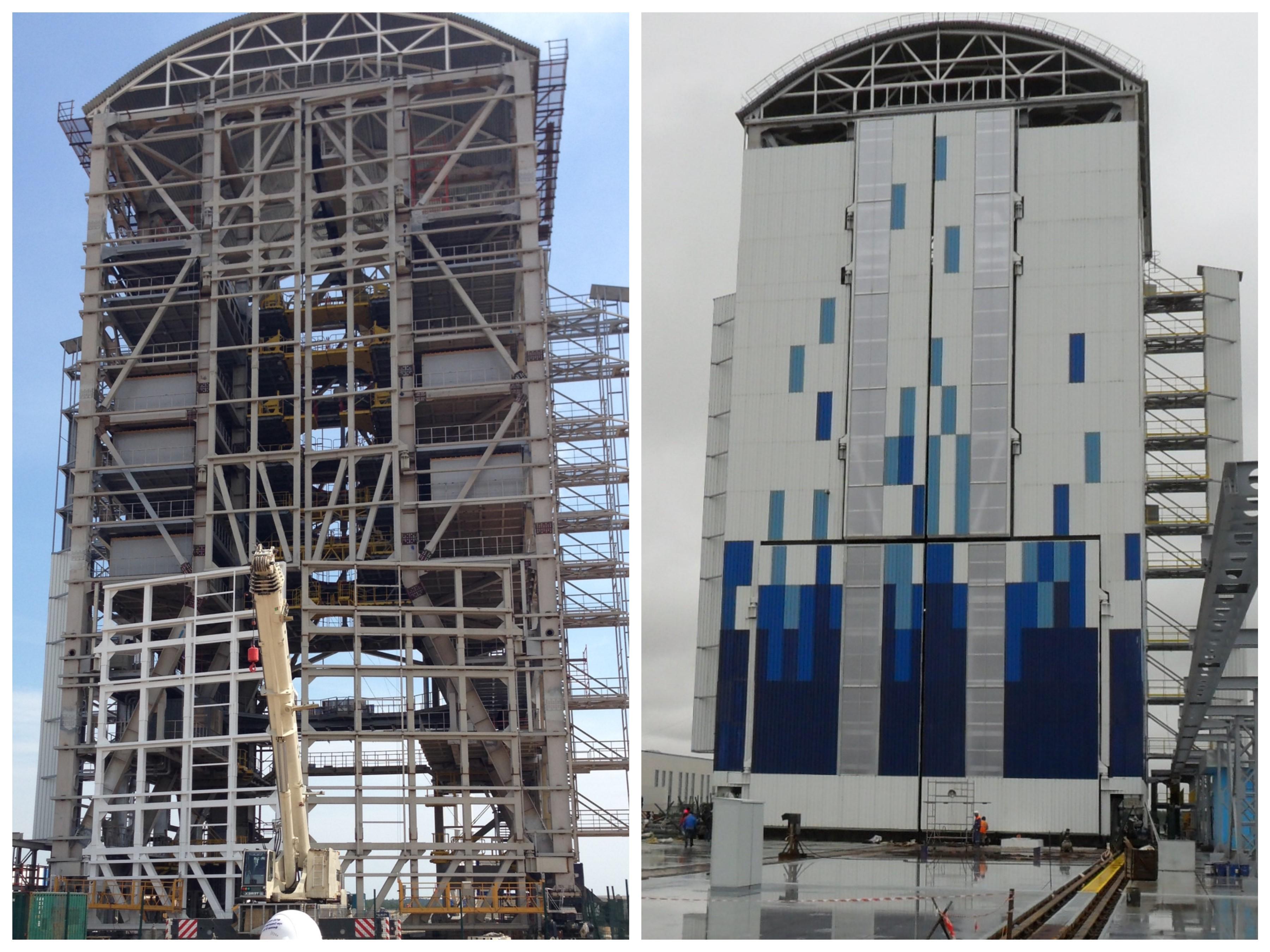 Стартовая площадка. Мобильная башня обслуживания. Высота – 52 м. Вес 1600 т. Слева июль 2015 г. Справа Сентябрь 2015 г.
