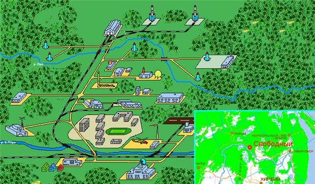 Схема расположения основных объектов космодрома Свободный